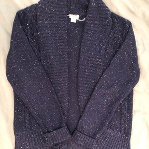 Navy Speckled Cable-knit Sweater